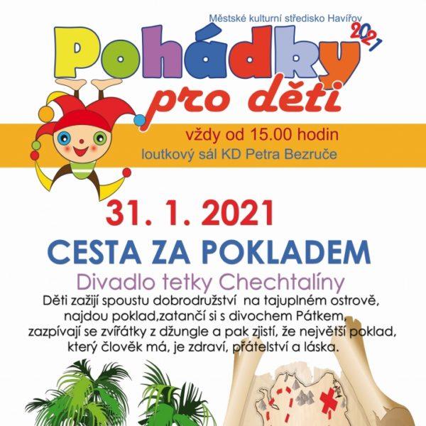 Plakát CESTA ZA POKLADEM – Divadlo tetky Chechtalíny – ZRUŠENO