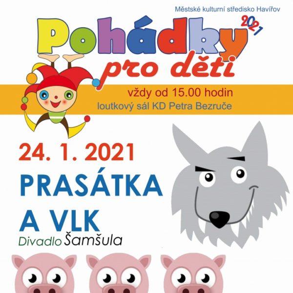 Plakát PRASÁTKA A VLK – Divadlo Šamšula – ZRUŠENO
